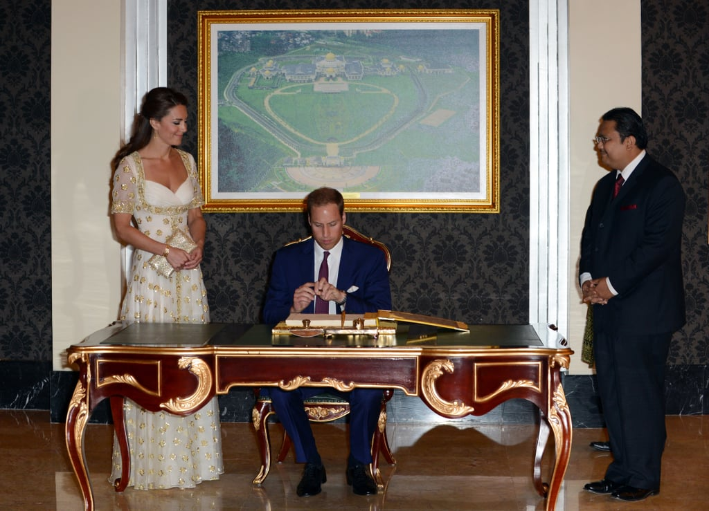 Kate Middleton and Prince William signed the guest book.