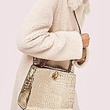 Romy Metallic Croc-Embossed Medium Satchel