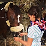Grace Burns got in the Independence Day spirit as she visited with a horse. Source: Instagram user cturlington