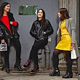Assistant Editors Nikita Ramsinghani and Marina Liao, and Editor Sarah Wasilak wearing combat boots during Fashion Week. Get our full outfit details here.