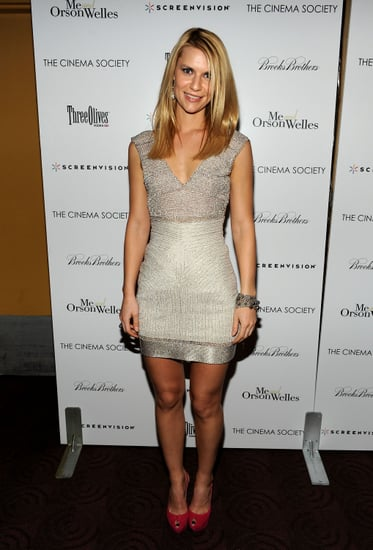 Claire Danes in a metallic dress