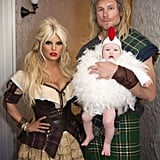 For Halloween in 2012, Jessica was decked out in a milkmaid-esque costume. Eric had a Braveheart look going on, while little Maxwell was a chicken.