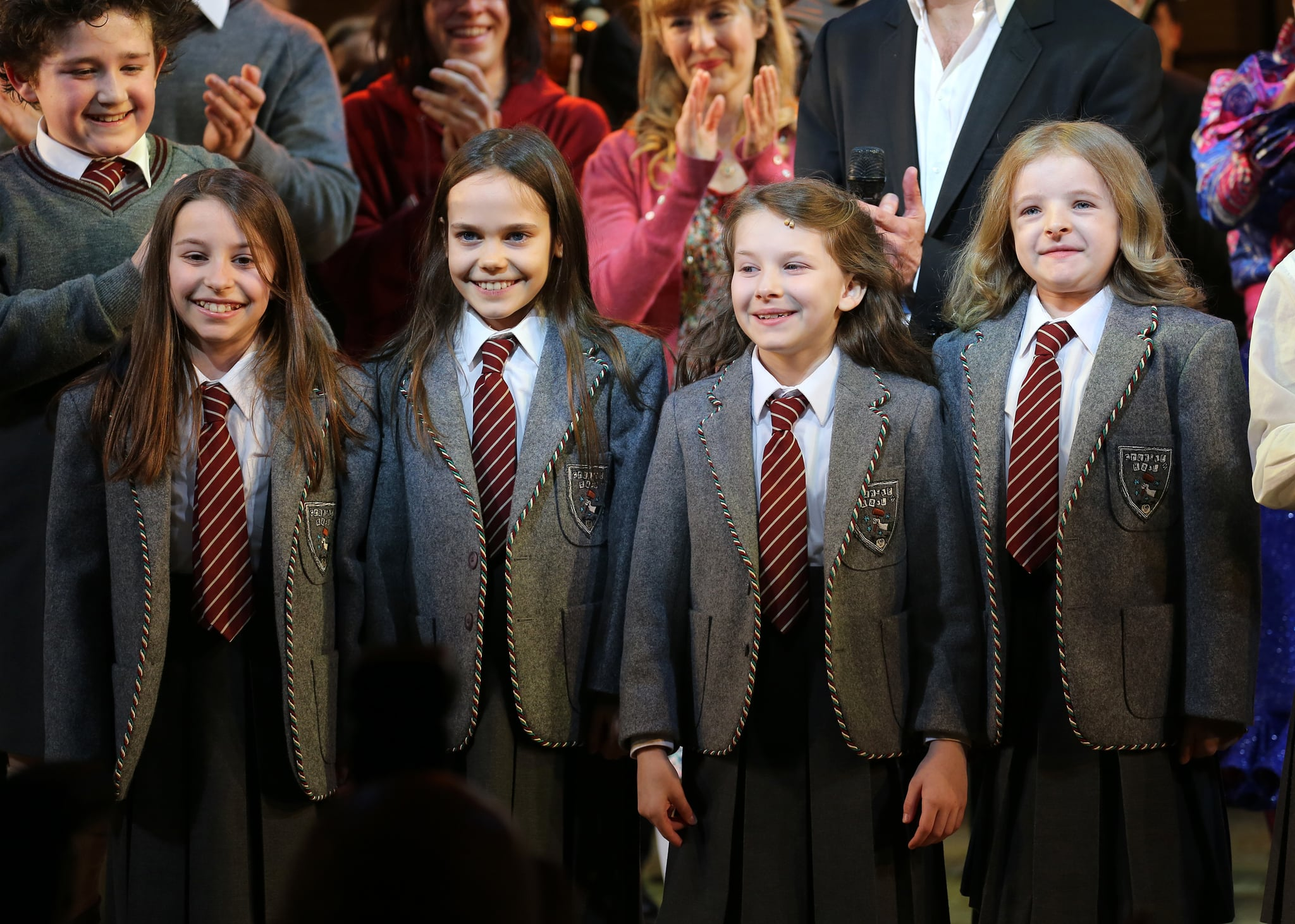Matildas: Sophia Gennusa, Oona Laurence, Bailey Ryon & Milly Shapiro during the Broadway Opening Night Performance Curtain Call for 'Matilda The Musical' at the Shubert Theatre in New York City on 4/11/2013 (Photo by Walter McBride/Corbis via Getty Images)