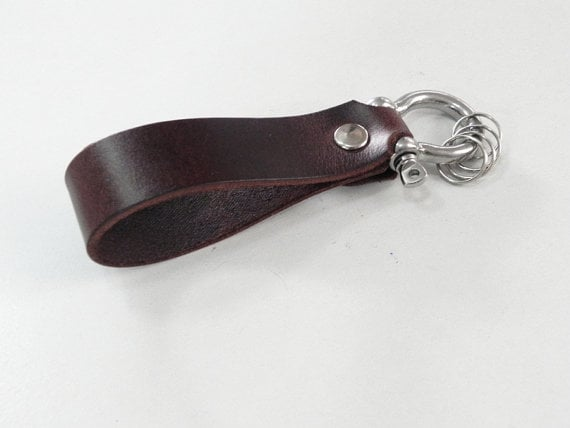 Brown Leather Key Ring With Camera Charm