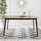 Noble House Natalia Natural Walnut Finish Mid-Century Modern Wood Dining Table