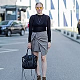 Keep It Simple by Styling Your Skirt With a Long-Sleeved Top