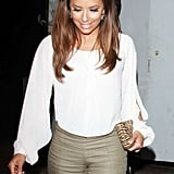 Eva Longoria wore a white blouse for the event.