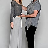 Donald Oliver, the designer of J Brand's new ready-to-wear line, styling a a pigment-dyed linen sweater and pleated chiffon skirt from the collection.