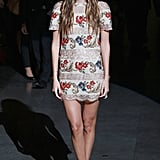 Bianca Brandolini D'Adda opted for a floral-embroidered mini in Dolce & Gabbana's front row.
