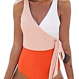 Cupshe Orange White Bowknot Bathing Suit