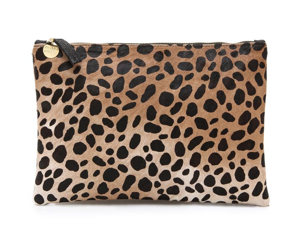 Clare Vivier Leopard Calf Hair Clutch