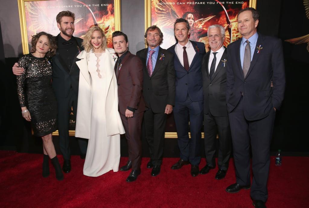 Pictured: Josh Hutcherson, Liam Hemsworth, Jennifer Lawrence, Michael Burns, Nina Jacobson, and Rob Friedman