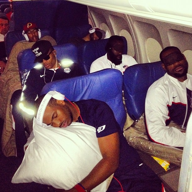 LeBron James and his teammates caught some shuteye during their international flight bound for London.  Source: Instagram User kevinlove7