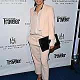 Eva Longoria's blush Boss suit got a classy touch via her black Casadei Blade pumps ($781) at an event in Beverly Hills.
