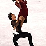 Tessa Virtue Still Nails the Spirit Fingers While Balancing on Scott Moir's Thighs