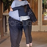 Katie hugged her friend after their meeting.