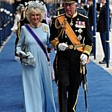 Charles, Prince of Wales, and Camilla, Duchess of Cornwall, left following the inauguration ceremony.
