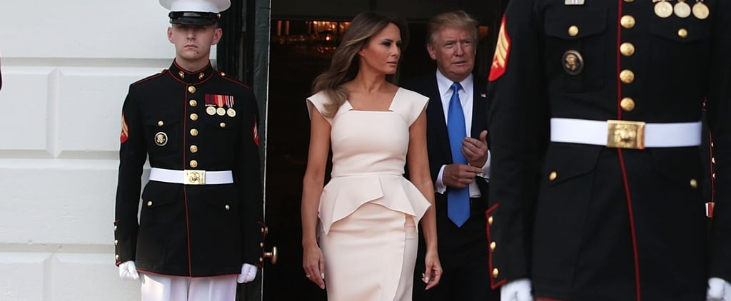 Melania Trump Wore Pink Peplum to Welcome South Korea's President and First Lady