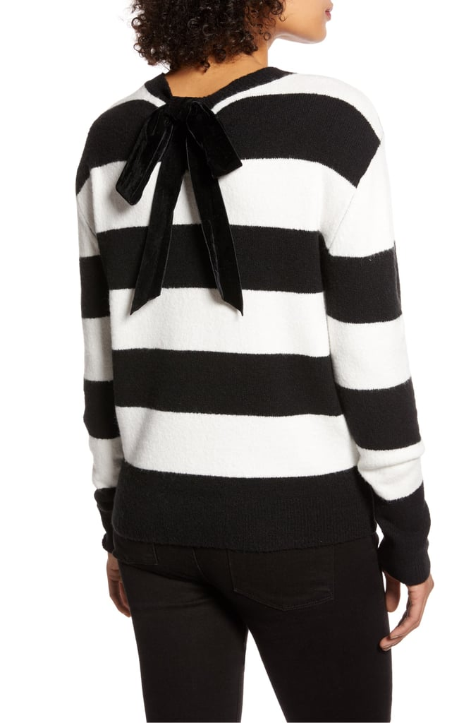 Halogen x Atlantic-Pacific Stripe Bow Back Sweater