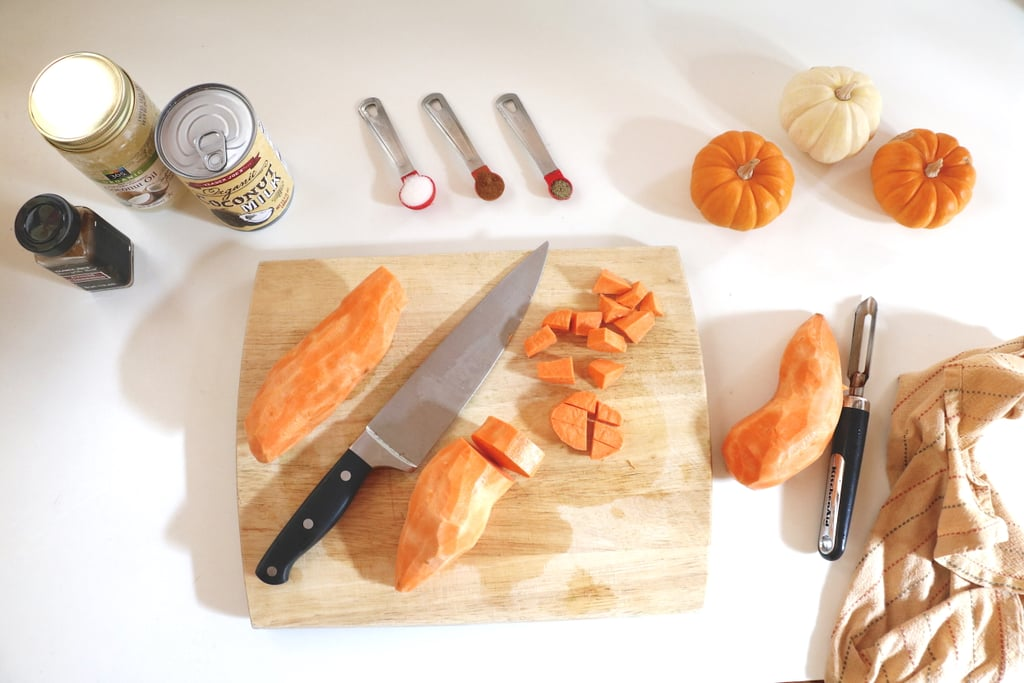 Peel and dice your sweet potatoes.