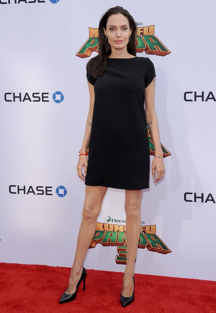 But Angelina Jolie Matched Her Black Shift With Classic Pumps
