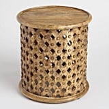 Tribal Carved Wood Accent Table