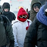 And commuters wore ski goggles to walk to work.