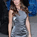 Minka Kelly in a gray dress for David Letterman.
