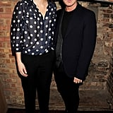 Samantha Cameron posed in a polka dot blouse with winner Christopher Kane.
