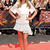 At the Manchester X Factor auditions in June 2014, Cheryl chose a sporty top and pleated skirt.
