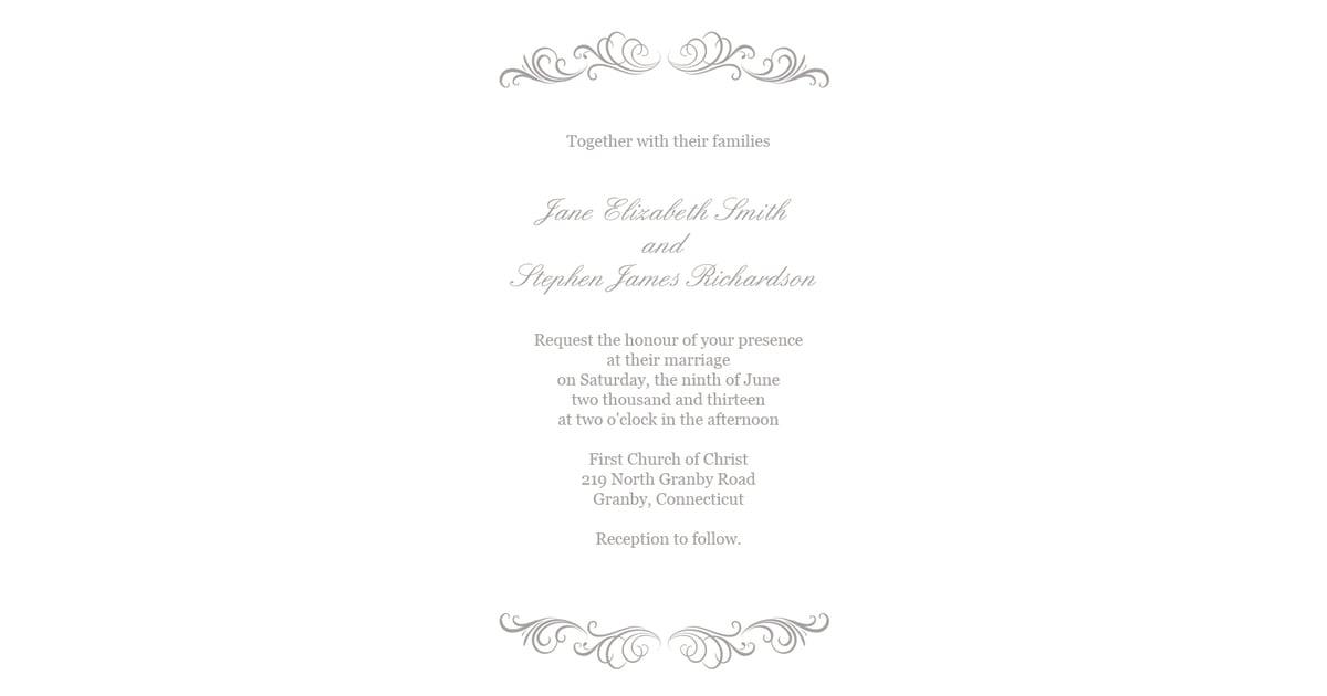 Silver Flourish Wedding Invitation | Free Printable Wedding ...