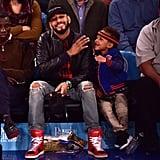 Swizz Beatz and Son at New York Knicks Game November 2015