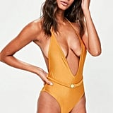 Missguided Orange Belted Plunge Swimsuit