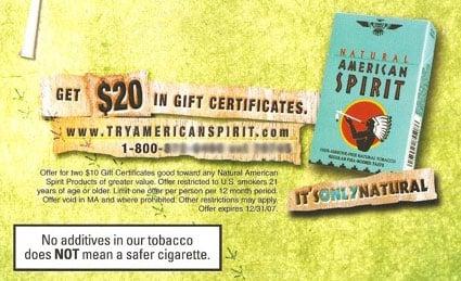 Rant on American Spirit Cigarette Company Direct Marketing Campaign