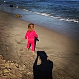 Elsa Pataky ran around the beach with her daughter, India Rose. Source: Instagram user elsapatakyconfidential