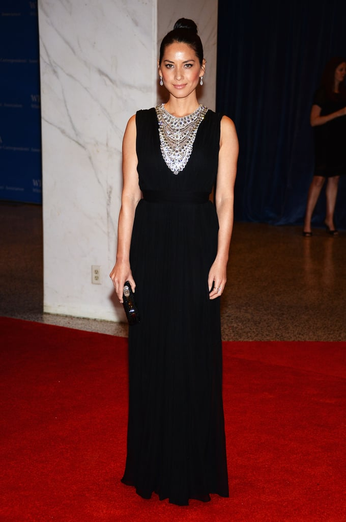 Olivia Munn paired an understated black Marchesa gown with a dramatically jeweled neckline.