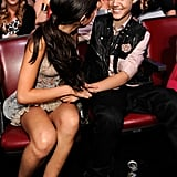 Selena Gomez and Justin Bieber laugh at the TCAs.