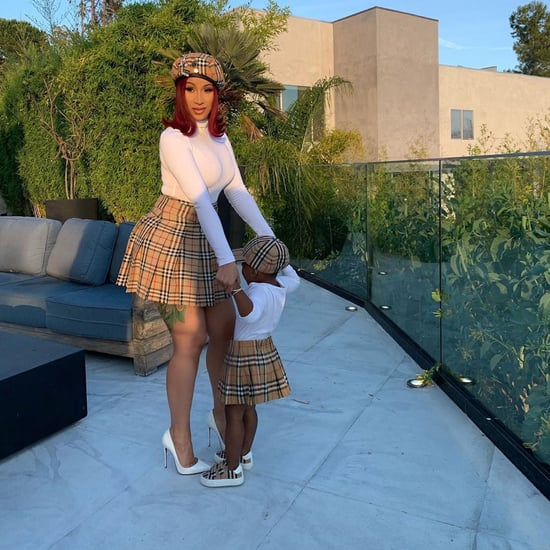 Cardi B and Kulture Matching in Burberry Outfits