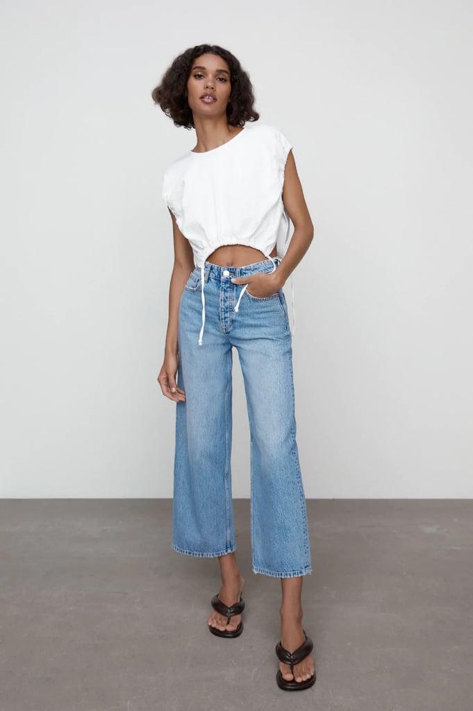 Zara Hi-Rise Wide Leg Cropped Jeans