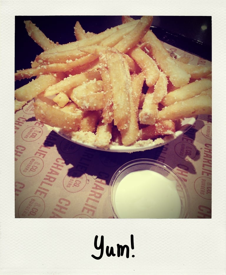 The parmesan and truffle fries from Charlie & Co. are a crowd-pleasing snack, always. (The Apict app on the Nokia Lumia 900 is wonderful for a polaroid effect.)