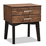 Baxton Studio Selena Two Drawer Nightstand in Caramel/Dark Brown