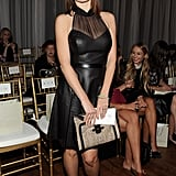 Emily Mortimer was bodacious in a sheer and leather black halter dress while sitting front row at Jason Wu.