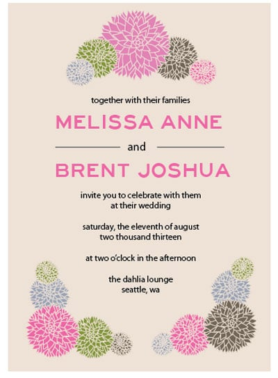 dahlia wedding invitation free printable wedding invitations