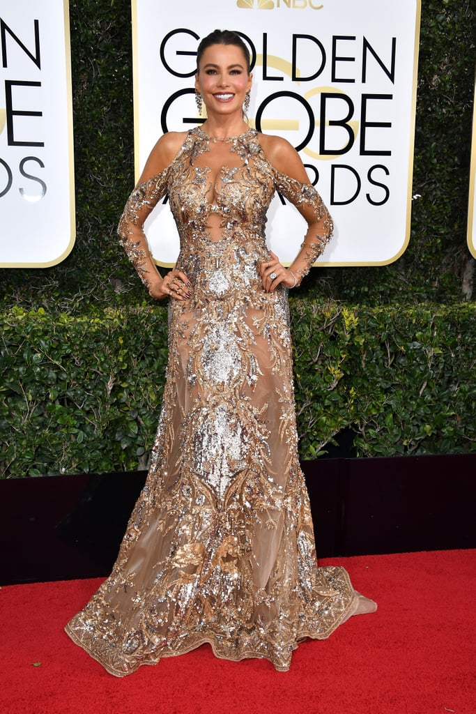 """In true Sofia Vergara fashion, she took to the 2017 Golden Globes red carpet in a gilded curve-hugging gown. The Modern Family actress wore an embroidered Zuhair Murad couture gown and striking earrings from Lorraine Schwartz. While Sofia typically opts for a strapless mermaid gown, this time, she chose a more modest option with long sleeves — although she still showed some skin with shoulder cutouts. Just hours before it started, Sofia shared her award show """"essentials"""" on Instagram, which included sparkling heels, her blingy phone case, a little dark chocolate, and a flask with a cheetah on it, naturally. Look ahead for pictures of Sofia's detailed look at every angle and then check out all of the other looks from the star-studded event.      Related:                                                                You'll Be Mesmerized by Gina Rodriguez's Old Hollywood Flapper Fringe Dress at the Golden Globes                                                                   Zoe Saldana Is Wearing a Grown-Up Version of Hermione Granger's Yule Ball Dress"""