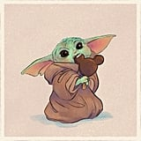 Baby Yoda Eating a Mickey Ice Cream Bar