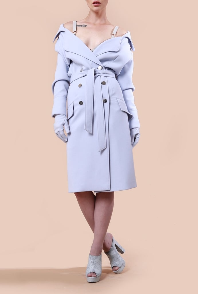 If you're looking for a trench coat like Ariana's, we recommend this stretch wool crepe option ($1,525) from the brand.