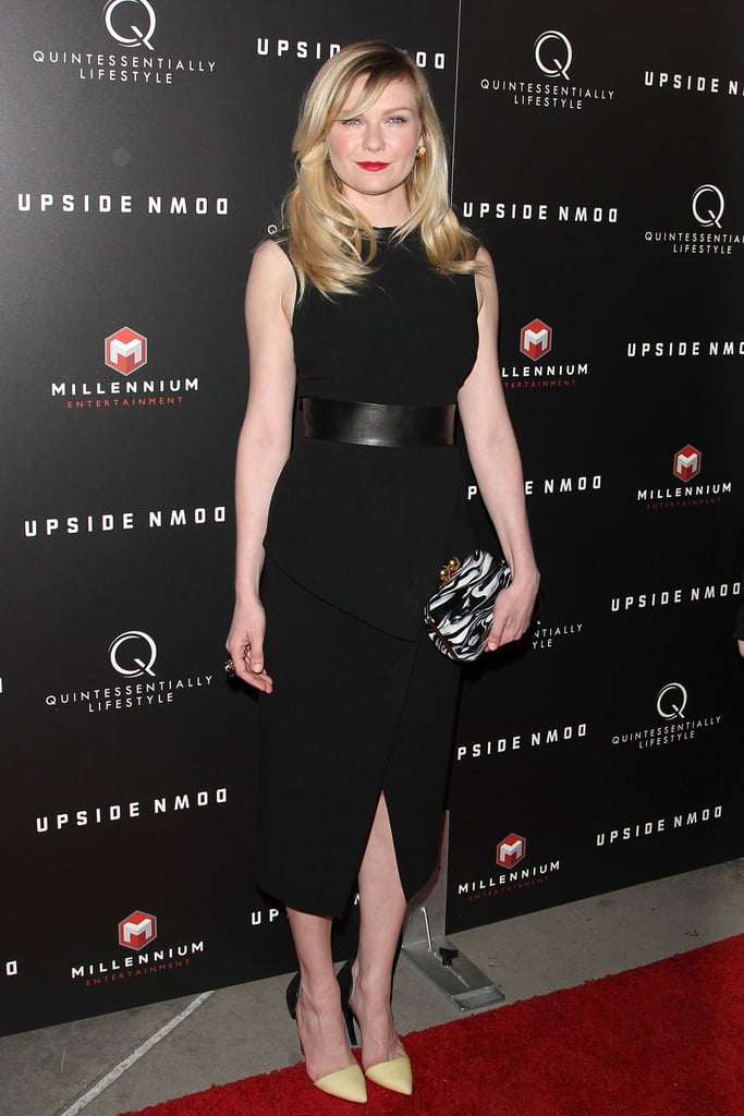 Kirsten Dunst was the first to wear Proenza Schouler's Fall '13 collection on the red carpet, a sleek LBD that the actress paired with fresh Spring pumps and a printed clutch at the Upside Down premiere in LA.