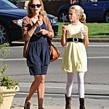 Ava and Reese chatted leaving Pinkberry.