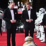 William and his brother, Prince Harry, were in awe of BB-8 as they arrived at the red carpet premiere of Star Wars: The Last Jedi in 2017. The royals had cameos as stormtroopers in the film.