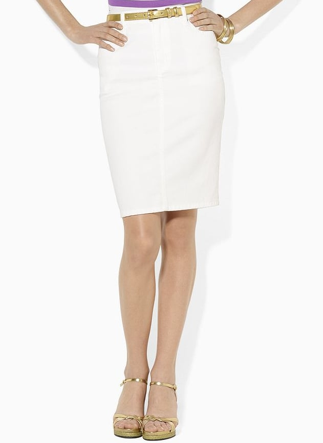 A sleek, white jean pencil skirt is perfect for cute daytime looks, not to mention that it's totally work appropriate. Lauren Jeans Co. Lori Stretch Denim Skirt ($40, originally $90)